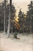Fox in Winter Forest Mauritz Lindstrom