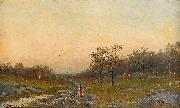 Autumn Landscape with a Woman on a Road Mauritz Lindstrom