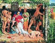 A Converted British Family Sheltering a Christian Missionary from the Persecution of the Druids, a scene of persecution by druids in ancient Britain p William Holman Hunt