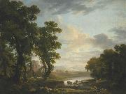 An extensive wooded river landscape with shepherds recicling in the foreground and ruins beyond George Barret
