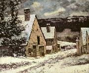 Dorfausgang im Winter Gustave Courbet