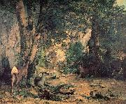 A Thicket of Deer at the Stream of Plaisir Fountaine Gustave Courbet