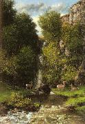 A Family of Deer in a Landscape with a Waterfall Gustave Courbet