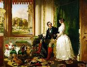 Windsor Castle in Modern Times, 1840-43 This painting shows Queen Victoria and Prince Albert at home at Windsor Castle in Berkshire, England. Sir edwin henry landseer,R.A.