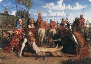 Rienzi vowing to obtain justice for the death of his young brother slain in a skirmish between the Colonna and the Orsini factions William Holman Hunt