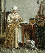 Interior with sewing woman. Wybrand Hendriks