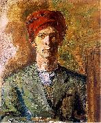 Self-portrait in red headwear Zygmunt Waliszewski