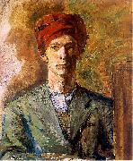 Self portrait in red headwear Zygmunt Waliszewski