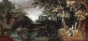 A wooded landscape with huntsmen in the foreground,a town beyond Claes Dircksz.van er heck