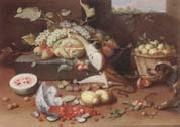 Still life of a watermelon,pears,grapes and melons,plums,apricots and pears in a basket,with a dog surprising a monkey and fraises-de-bois spilling ou Jan Van Kessel the Younger