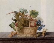 Still life of fruit in a bowl,upon a stone ledge Madame Elie