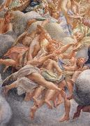 Assumption of the Virgin,details with angels bearing musical instruments Correggio