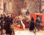 Gustav Adolph Greets his Wife outside Hanau Castle in January 1632 Adolph von Menzel