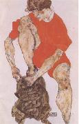 Female Model in Bright Red Jacket and Pants (mk09) Egon Schiele