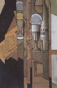 Glasses Newspaper and a Bottle of Wine (nn03) Juan Gris