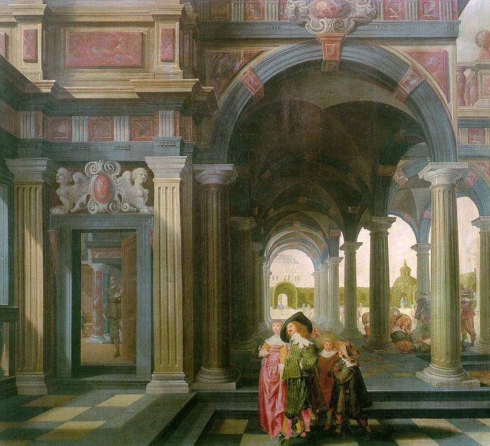 DELEN, Dirck van Palace Courtyard with Figures df