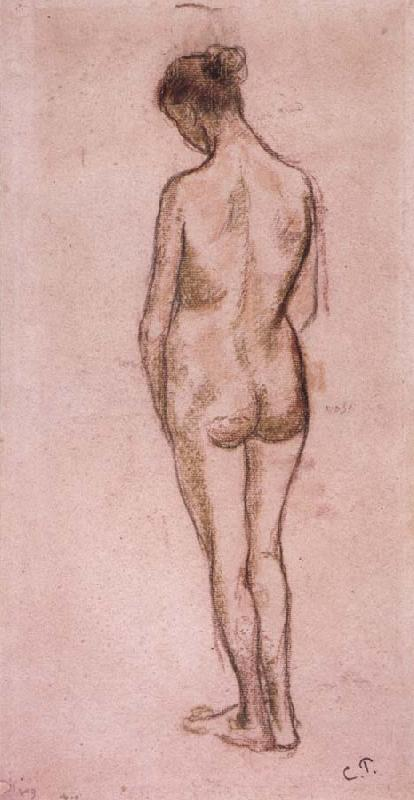 Camille Pissarro Full-length standing nude of a woman from behind