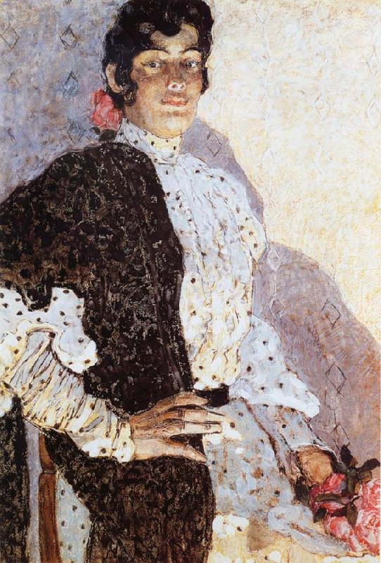 Alexander Yakovlevich GOLOVIN The Woman of spanish had on a shawl Black