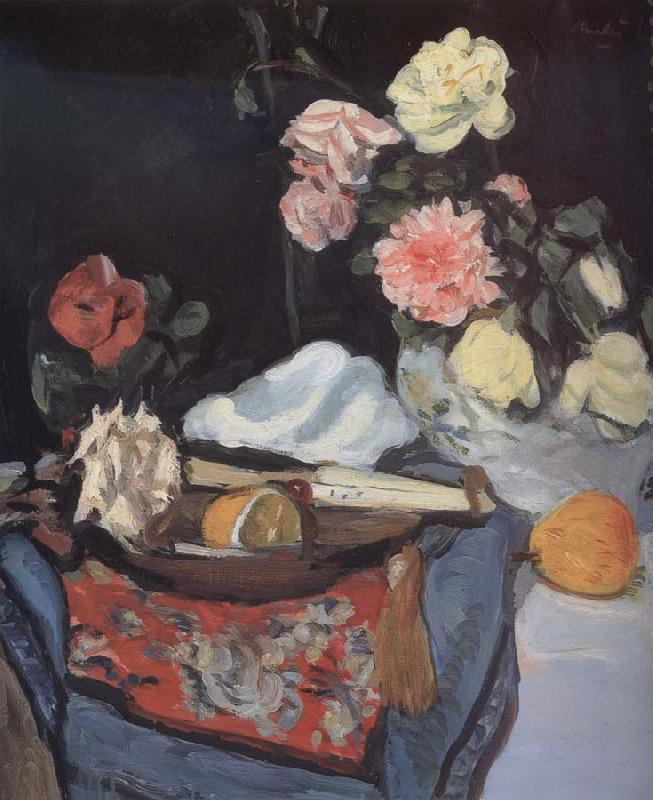 George Leslie Hunter Fruit and Flowers on a Draped Table
