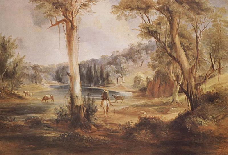 Conrad Martens Australian Landscape with cattle and a stockman at a creek
