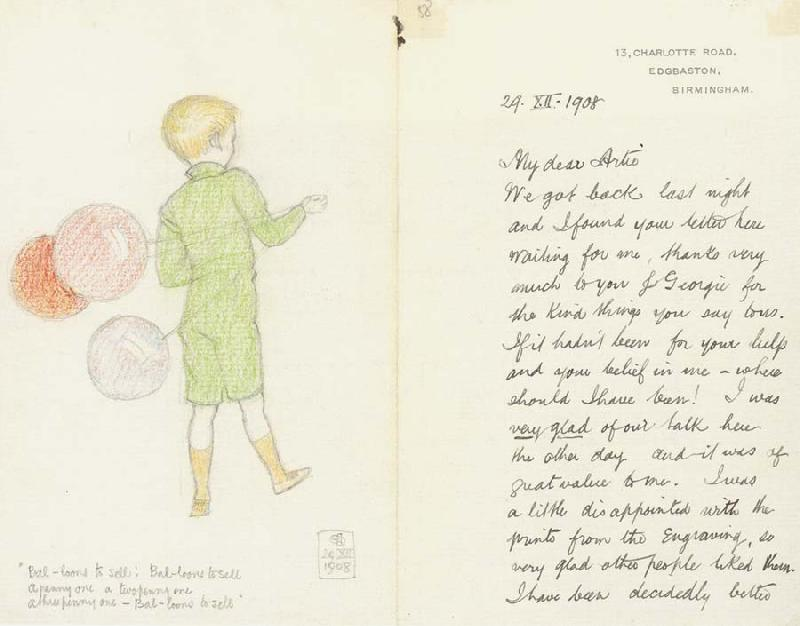 Joseph E.Southall Balloons to sell Illustrated letter to Arthur Gaskin