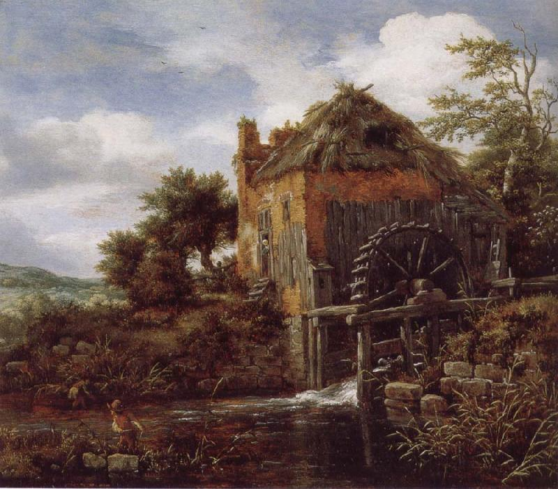Jacob van Ruisdael Thatch-Roofedhouse with a water Mill