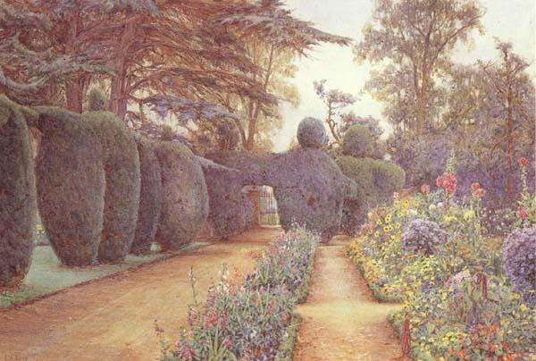 Ernest Arthur Rowe The Gardens at Campsea Ashe.Watercolur (mk46)
