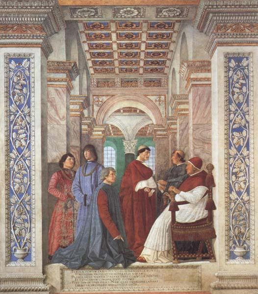 Melozzo da Forli Pope Sixtus IV appoints Platina as Prefect of the Vatican Library (mk45)