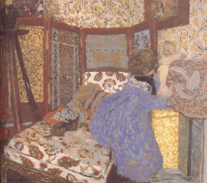 Edouard Vuillard Ms. wearing blue clothes and children