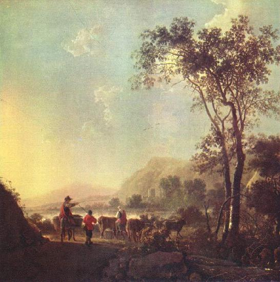 Aelbert Cuyp Landscape with herdsman and cattle.