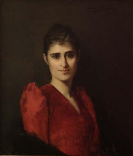 Anna Bilinska-Bohdanowicz Portrait of a women in red dress
