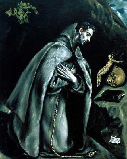 El Greco St Francis in Prayer before the Crucifix or Saint Francis Kneeling in Meditation