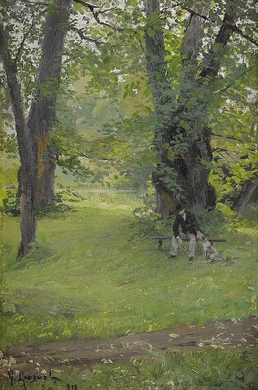 Gerda Roosval-Kallstenius Park with sitting man and dog