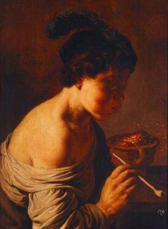 Jan lievens A youth blowing on coals.