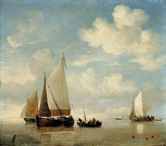 willem van de velde  the younger Dutch Smalschips and a Rowing Boat