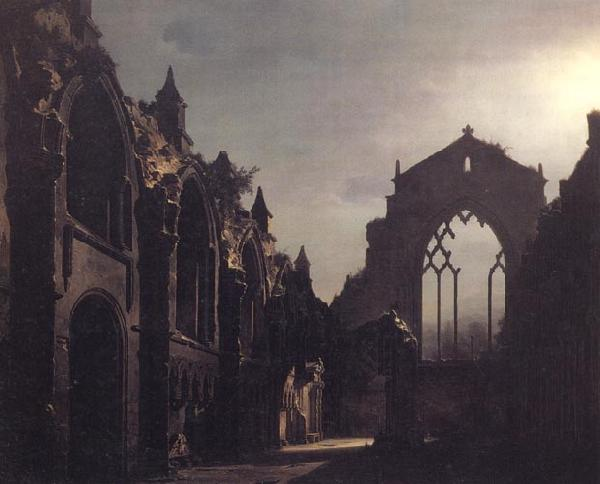 Luis Daguerre The Ruins of Holyrood Chapel,Edinburgh Effect of Moonlight