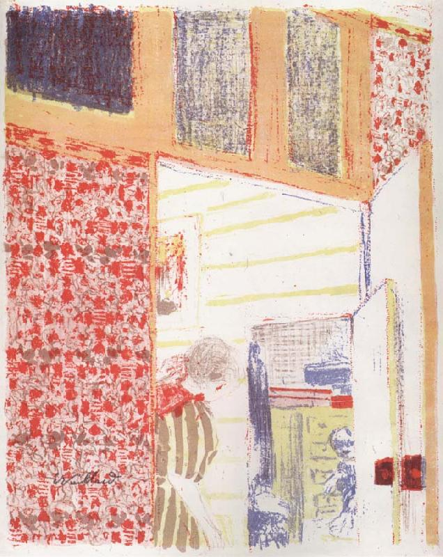 Edouard Vuillard Interior with pink wallpaper III